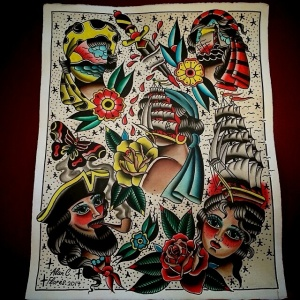 Alan Flores Tattoo flash painting.